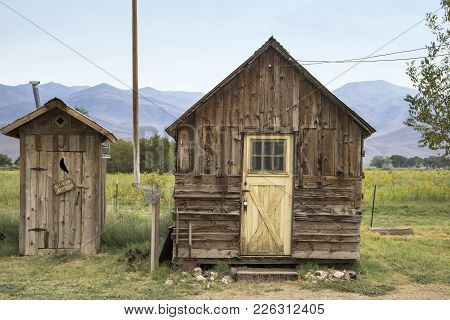 Laws, California, Usa: August 30 2017 - Old Buildings At The Old West Town Of Laws In California