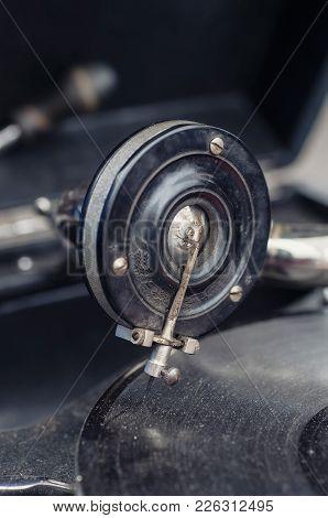 Old Grammophone Close Up Macro Shot