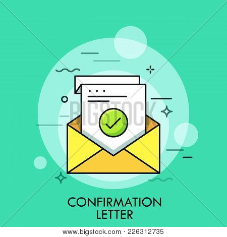 Sheet Of Paper With Green Check Mark Inside Envelope. Concept Of Confirmation, Acceptance Or Approva