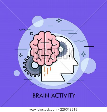Human Head Profile, Brain And Gear Wheels. Concept Of Intellectual Or Mental Activity, Intelligence,