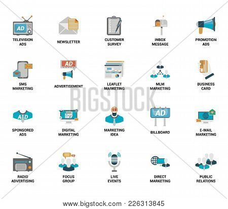Vector Set Of Marketing And Advertising Spot Flat Web Icons. Each Icon With Adjustable Strokes Neatl