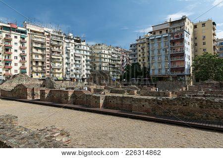 Thessaloniki , Greece - May 25, 2017: Ruins Of Ancient Greek Agora In Thessaloniki. Macedonia, Greec