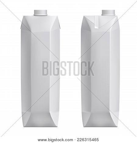 White Blank Mockup Cardboard Box, Package For Milk, Juice Realistic 3d Vector. White Cardboard Packa