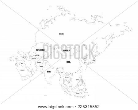 Political Outline Map Of Asia Continent. Vector Illustration.