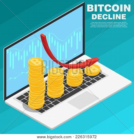 Graph Of Falling Bitcoin On A Laptop Isometric Vector. The Concept Of Reducing The Cost Of Bitcoin W