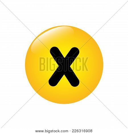 Mathematical Multiplication Icon On The Yellow Button