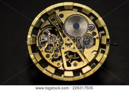 Mechanical Watch, Gears, Gold Watch, Wristwatch, Close Up