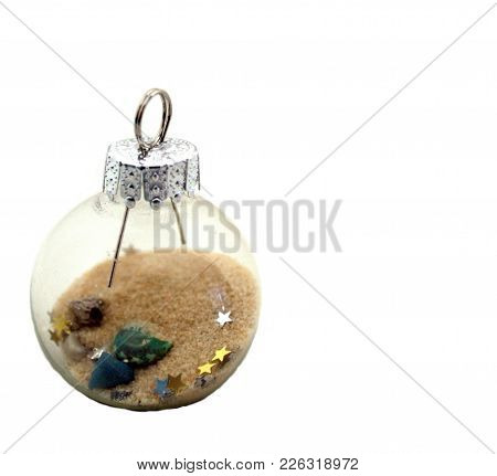 Mesmerizing Glass Ball  Filled With Sand, Small Shells And Glitter.