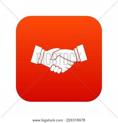Handshake Icon Digital Red For Any Design Isolated On White Vector Illustration