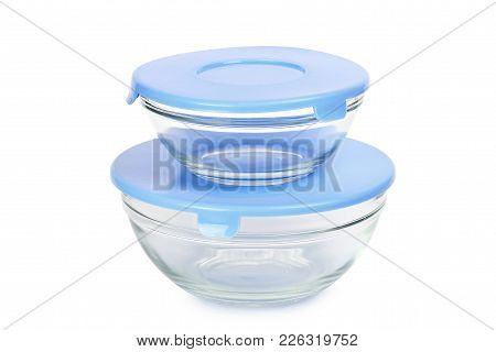 Empty Glass Food Containers Isolated On White