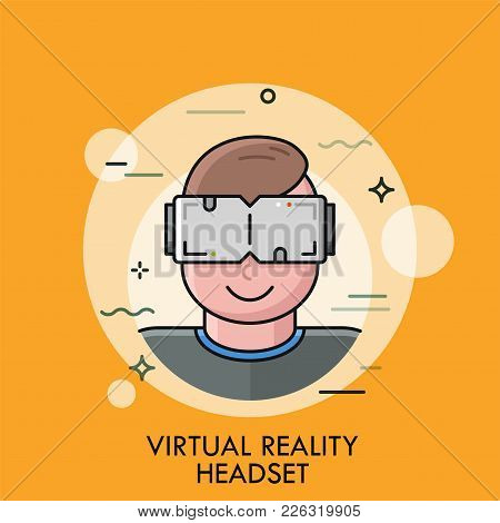 Smiling Man Wearing Vr Glasses And Enjoying Effects. Concept Of Virtual Reality Headset, Hi Tech Inn