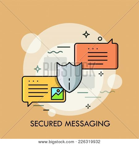 Pair Of Colorful Speech Bubbles And Protective Shield. Concept Of Secured Instant Messaging, Protect