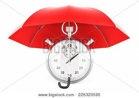 Stopwatch Under Blue Umbrella, 3d Rendering Isolated On White Background
