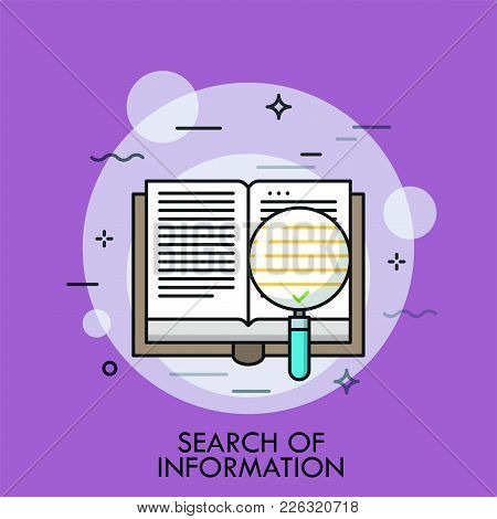 Opened Paper Book And Magnifying Glass With Green Check Sign Inside. Concept Of Valuable Information