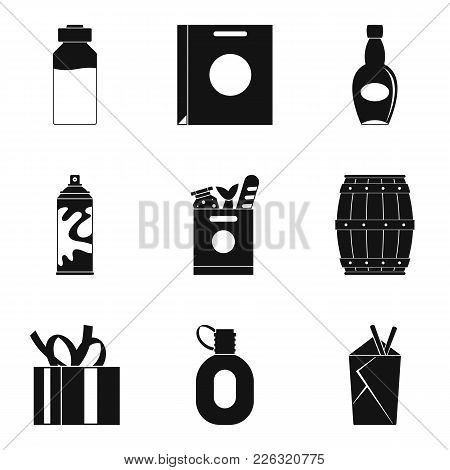 Container Icons Set. Simple Set Of 9 Container Vector Icons For Web Isolated On White Background
