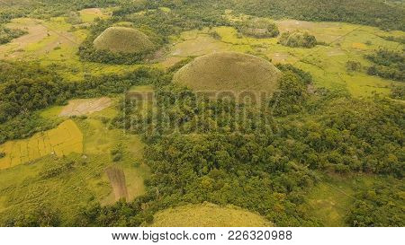 Amazingly Shaped Chocolate Hills On Sunny Day On Bohol Island, Philippines. Aerial View Chocolate Hi