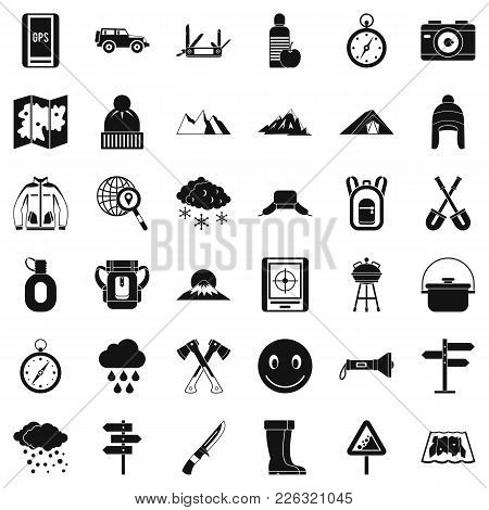 Mountaineering Icons Set. Simple Set Of 36 Mountaineering Vector Icons For Web Isolated On White Bac