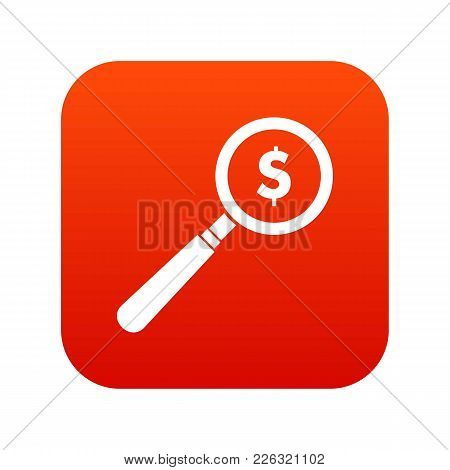 Magnifier Icon Digital Red For Any Design Isolated On White Vector Illustration