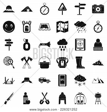 Mountain Tourism Icons Set. Simple Set Of 36 Mountain Tourism Vector Icons For Web Isolated On White