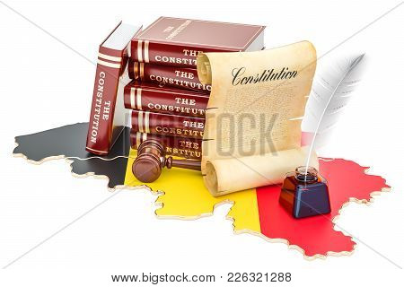 Constitution Of Belgium Concept, 3d Rendering Isolated On White Background