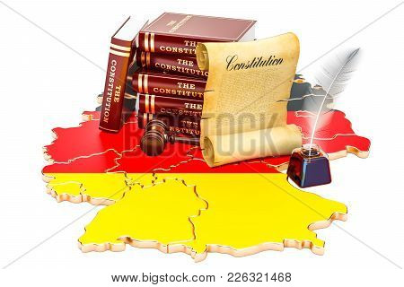 Constitution Of Germany Concept, 3d Rendering Isolated On White Background