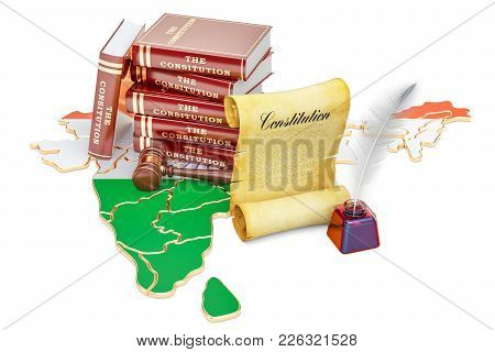 Constitution Of India Concept, 3d Rendering Isolated On White Background