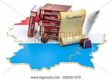 Constitution Of Luxembourg Concept, 3d Rendering Isolated On White Background