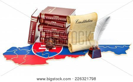 Constitution Of Slovakia Concept, 3d Rendering Isolated On White Background