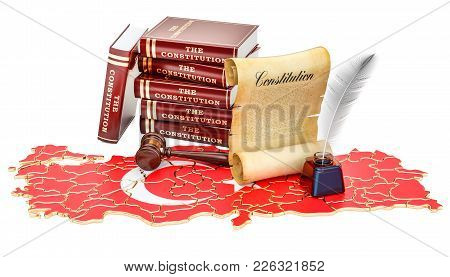 Constitution Of Turkey Concept, 3d Rendering Isolated On White Background