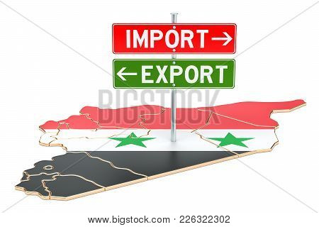 Import And Export In Syria Concept, 3d Rendering Isolated On White Background