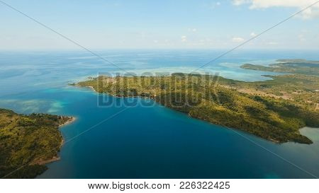 Aerial View Of Beautiful Seascape With Tropical Islands With Sand Beach, Azure Water. Tropical Lagoo