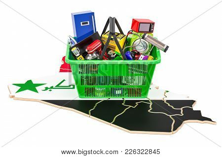 Map Of Iraq With Shopping Basket Full Of Home And Kitchen Appliances, 3d Rendering