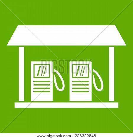 Gas Station Icon White Isolated On Green Background. Vector Illustration