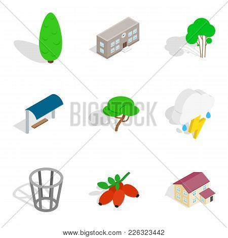 Green Area Icons Set. Isometric Set Of 9 Green Area Vector Icons For Web Isolated On White Backgroun