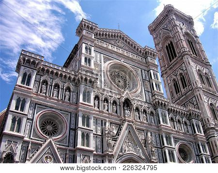The Beautiful Facade Of Florence Cathedral Santa Maria Del Fiore