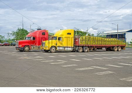 Colorful Lorries Transporting Fruits From Nicaragua To Costa Rica