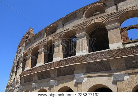 Colosseum In Rome, Italy. Rome Colosseum Is One Of The Main Attractions Of Rome And Italy.