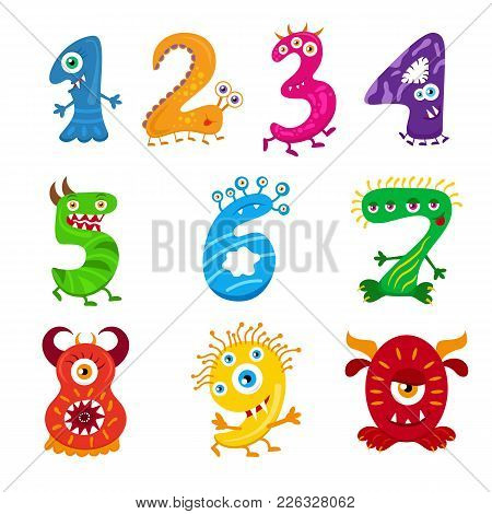 Funny Cartoon Numbers Monster Set. Collection Isolated Fantasy Numerals For Kids Learning Counting O