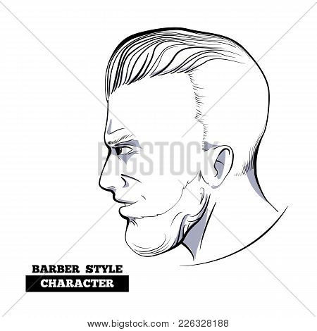 Slicked Back Hairstyle Character Model, Hand Drawn Style Sketch.profile View Of Hipster Bearded Man
