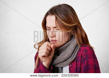 Portrait Of Allegic Ill Female Has Cough, Caught Cold, Feels Unhealthy, Looks Sick, Wears Warm Knitt