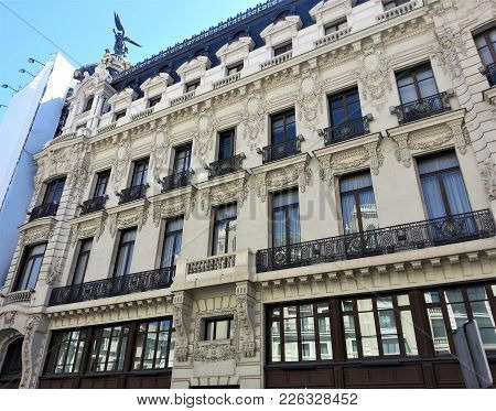 Famous House In The Gran Via Of Madrid, Spain