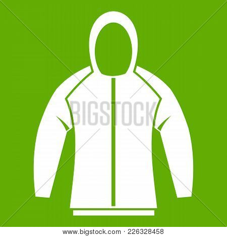 Sweatshirt Icon White Isolated On Green Background. Vector Illustration