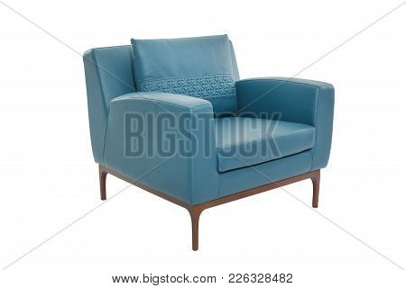 Leather And Wood Armchair Modern Designer Chair On White Background Texture Chair