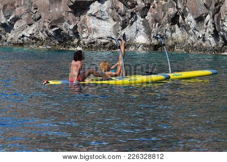 Martinique Island, France-january 02, 2018 :the Beautiful Young Ladies Making Stand Up Paddle , Mart