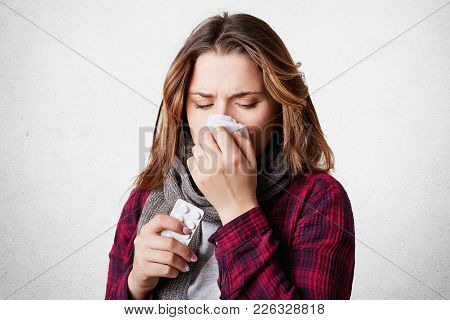 Stressed Ill Woman Suffers From Running Nose, Headache, Has Flu Or Cold, Takes Medicine, Tries To Ov