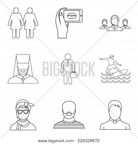 Specific People Icons Set. Outline Set Of 9 Specific People Vector Icons For Web Isolated On White B