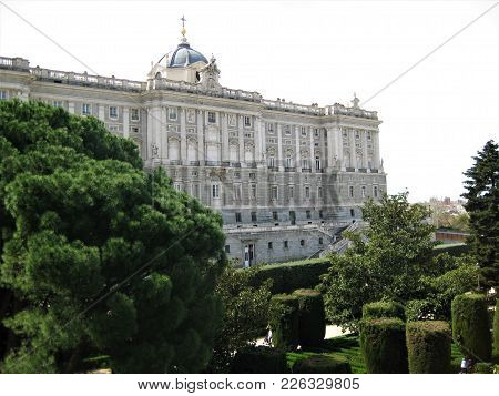 Royal Palace And Royal Garden In Madrid, Spain