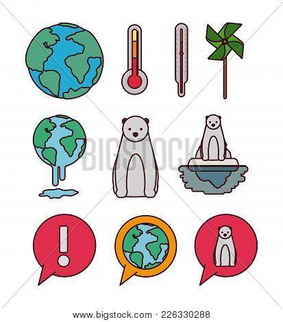 Climate Change Set Icons Vector Illustration Design