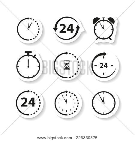 Non Stop Time Sticker Icons On White Background