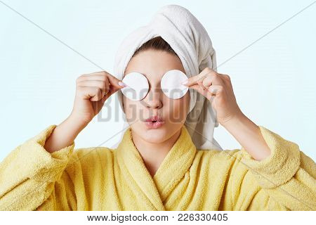 Funny Woman Foolishes After Taking Shower, Wears Towel And Bathrobe, Covers Eyes With Cotton Wheels,
